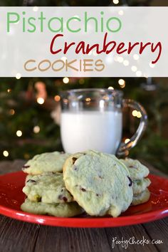 Easy Pistachio Cherry Cranberry Cookies - Christmas Cookie Exchange #recipe
