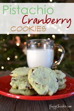 Easy Pistachio Cherry Cranberry Cookies - Christmas Cookie Exchange #recipe