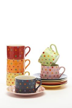 Polka Dot Teacups & Saucers Set - Multi - Set of 12 by Yedi Houseware on @HauteLook