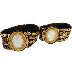 Antique Napoleon I Pair Bracelets Gold Agate Cameos Napoleon & Josephine (#5354) by BestOldJewelry on Etsy https://www.etsy.com/listing/223203526/antique-napoleon-i-pair-bracelets-gold