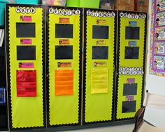 Have a cabinet door for each subject of the day and place the day/week's vocabulary words in the appropriate pocket chart. Hang standards strips and objectives above it.