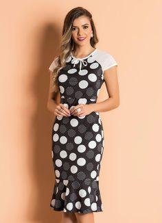 ⚫ Vestido Poá Detalhe de Amarração Moda Evangélica