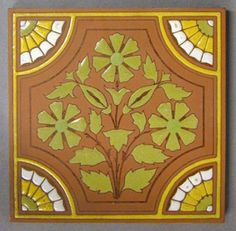 "Maw and Co impressed line and part majolica glazed dust-pressed tile, stylized flower and four quarter rosettes in the corners. Red body with yellow, green and white majolica glazes over part of the design only. 6"" square, c1880"