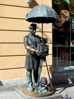 Statue of a Photographer on Malaya Sadovaya Ulitsa in St Petersburg, Russia