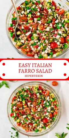 Scrumptious Helpful Vegetarian Strategies For italian vegetarian food veggies Farro Recipes, Vegetarian Recipes, Cooking Recipes, Healthy Recipes, Italian Salad Recipes, Rice Salad Recipes, Healthy Salads, Easy Recipes, Grain Salad