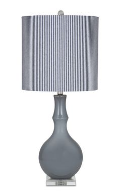 Reese Grey Glass Shade Drum Table Lamp