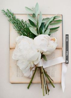 rosemary, olive branch & peonies bouquet. | VIA #WEDDINGPINS.NET