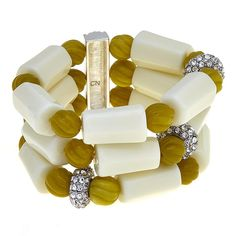 Rara Avis by Iris Apfel Green and White Bead 3-Row Pavé Station Stretch Bracelet