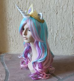 MUST HAVE THIS FOR EVERYDAY USE. Princess Celestia costume cosplay wig  blue purple pink by GimmCat, $160.00