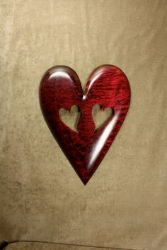Personalized Red Valentines Day gift Heart by TreeWizWoodCarvings