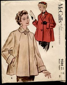 McCalls 9584 misses swing coat size 14 bust 32 vintage Dress Making Patterns, Vintage Dress Patterns, Vintage Dresses, Vintage Outfits, Vintage Fashion, 1950s Fashion, Vintage Clothing, Vintage Coat, Mode Vintage