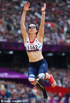 Leap: Stef Reid competes in the women's long jump F42/44 final on Sunday at the Olympic Stadium