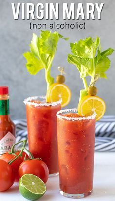 This flavor-packed non-alcoholic Bloody Mary is so easy to make with simple ingredients. A perfect way to enjoy a bloody Mary without the booze! Virgin Bloody Mary Recipes, Summer Drinks, Fun Drinks, Coctails Recipes, Easy Mocktail Recipes, Drink Recipes, Non Alcoholic Cocktails, Easy Mocktails, Virgin Drinks