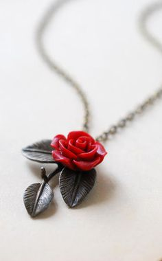 Red Rose Antique Brass Leaf Necklace. Vintage Style Nature Inspired Leaf Branch Dark Red Flower Necklace. Botanical Woodland Bridesmaid Gift by LeChaim www.etsy.com/shop/LeChaim
