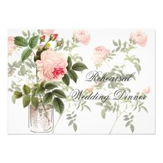 Rose of Orleans White Rehearsal Invitation Card