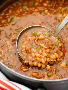 The Best BBQ Baked Beans on foodiecrush.com