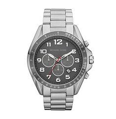 Michael Kors® Silvertone & Black Bradshaw Chronograph Watch