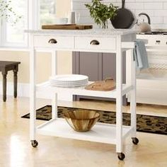 Dotted Line™ Enos Kitchen Cart with Solid Wood Top & Reviews | Wayfair Narrow Kitchen Island, Kitchen Island Cart, Modern Kitchen Island, Kitchen Carts, Wine Rack Storage, Kitchen Storage, Storage Spaces, Open Shelving, Adjustable Shelving