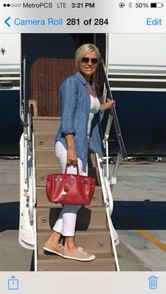 Yolanda Foster White denim with chambray shirt