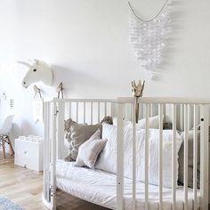 Stokke Sleepi expanded for toddlers. All white children's room