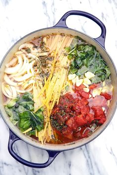 One Pot Wonder:Tomato Basil Pasta--  My adjustments:  1/4 tsp Red pepper flakes 16 oz. Linquine--break in half to fit in pot 28 oz can Chunky Crushed tomatoes Add basil in the last 5 mins. Add zucchini, squash and some cherry tomatoes last 5/10 mins.  Cook 20 mins. Not 10 Served with a sliced grilled chicken breast on top