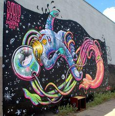 """Lauren YS Illustration """"Squid Marks"""" in RiNo. http://www.searchfordenverhomes.com/"""