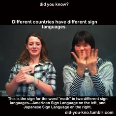 Based on the tremendous reaction to this recent piece about sign language interpretation, we thought you might like to know more about it. Here are seven things about sign language that might surprise Different countries have different sign Japanese Sign Language, Australian Sign Language, British Sign Language, Foreign Language, Learn Sign Language, Talk To The Hand, Deaf People, Asl Signs, Different Signs
