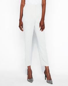 ccd2846648c High Waisted Pinstripe Trouser Pant White Women s XXS