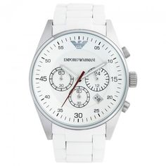 Armani Watches Mens White Chronograph Watch AR5859