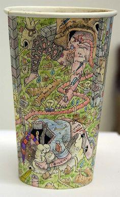 coffee cup drawings by artist paul westcombe
