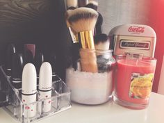 Loving my vanity set up right now. #diy #vanity #bedroom #girly #makeupbrushholder #candlejars