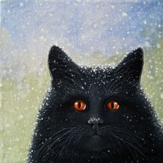 Really? black cat in snow storm winter realisitic animal portrait, painting by artist Linda Apple