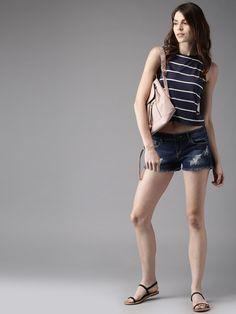 a7693178ec Buy Moda Rapido Blue Washed Denim Shorts online. Western Wear For WomenWashed  ...