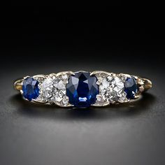 So gorgeous.  A Victorian ring from 1885. Diamond and sapphire.