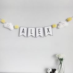 Personalised cloud name bunting baby nursery decor baby room decoration personalised bunting new baby gift baby shower decor pom pom