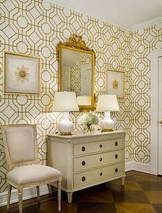 Good, classic, & simple. The gold is bright enough to keep your interest but there's not so much that it's gaudy. The whites & greyed off whites make a nice backdrop. Cowtan and Tout trellis wallpaper.