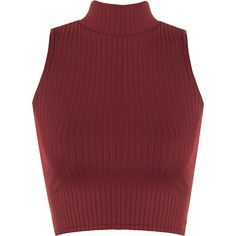 Luann Rib Turtle Neck Crop Top ($14) ❤ liked on Polyvore featuring tops, shirts, crop tops, crop, wine, crop top, short crop tops, ribbed crop top, fitted shirt and sleeveless turtleneck top