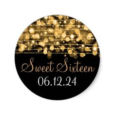 Sweet Sixteen Favor Party Sparkles Gold Classic Round Sticker