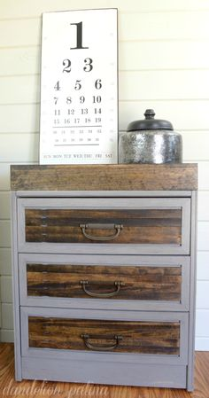 Give an old wooden dresser a facelift with a can of paint and a few pieces of trim.