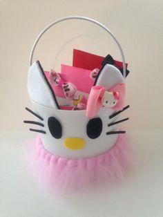 Girls Easter Basket And Hair Bows, Handmade Hello Kitty Bows ,Easter Basket , #Handmade