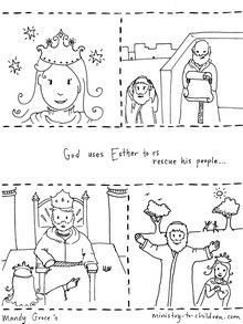 This free coloring page illustrates the biblical story of Esther and how God used her to save his people from a wicked plan.