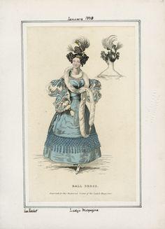 Ball Dress. January 1830. Casey Fashion Plates. Los Angeles Public Library