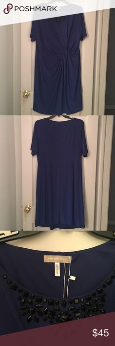 Sz22. Simply Be Blue dress with black beading Sz22. ANTHOLOGY for Simply Be. Short sleeve, royal blue, gathered and knotted at waist. Simply Be Dresses