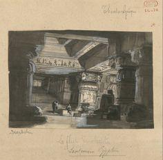 "Set design (1863), by Edouard Despléchin (1802-1870), for ""Die Zauberflöte"" (1791), by Wolfgang Amadeus Mozart [born (Joannes Chrisostomus) Wolfgang Gottlieb Mozart; ennobled as Cav. Amadeo Wolfgango Mozart] (1756-1791)."