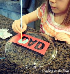 25 DIY Kid-Made Father's Day Gifts - stenciled plate