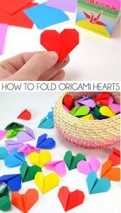 It's so simple to fold these pretty origami hearts. You can use them for garland or banners or give 1 for each day you've been with your sweetie (that's what I did! 100 for 100 days :)