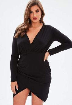 0c6a3c2fb8 Missguided Curve Black Wrap Slinky Dress Plus Size Dresses