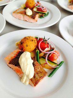 Ocean Trout, salad nicoise,  horseradish emulsion