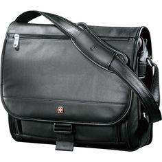 New Wenger Executive Leather Compu-Saddle Bag f44469d1947e8