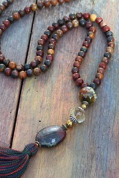 Beautiful jasper mala necklace by look4treasures on Etsy